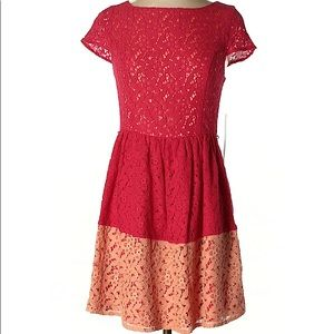 Kensie / Red & Light Pink Lace Dress / New